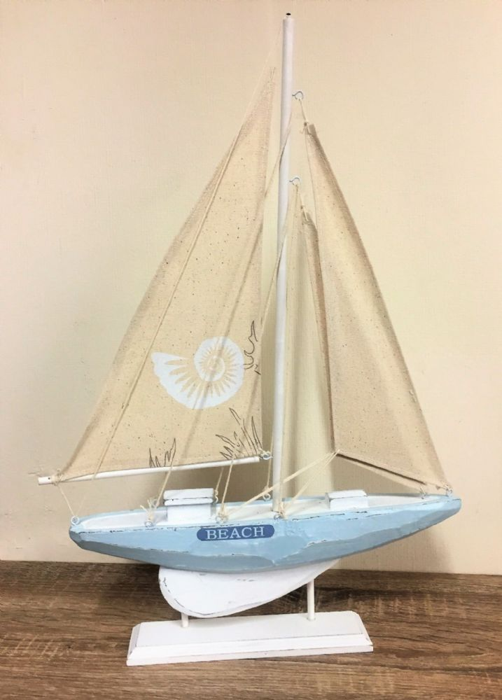 Blue & White 50cm BEACH Distressed Boat Nautical Ornament